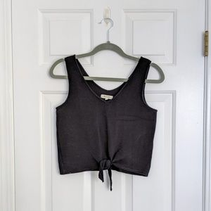 Madewell Texture & Thread Black Tie-Front Tank Top